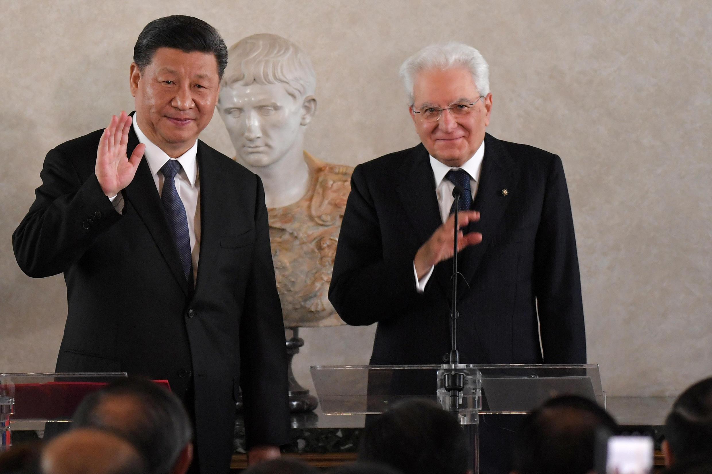 中国国家主席习近平与意大利总统马塔雷2019年11月资料图片