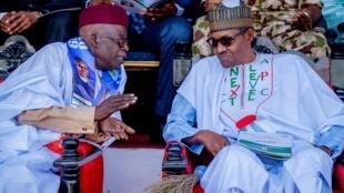 Shugaban Najeriya Muhammadu Buhari, tare da jagoran jam'iyyar APC mai mulkin Najeriya, yayin yakin neman zaben 2019 a garin Maiduguri.