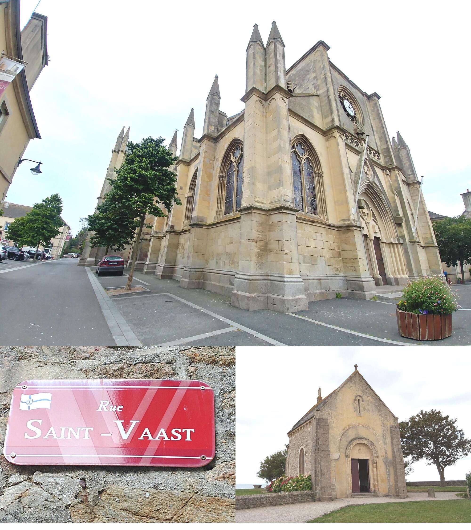 Nhà thờ Saint Vaast la Hougue và nhà nguyện. Từ trung tâm, bạn có thể đi dạo khoảng hai cây số dọc bờ biển