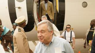Antonio Guterres à son arrivé à Sévaré, dans le centre du Mali, le 30 mai 2018.
