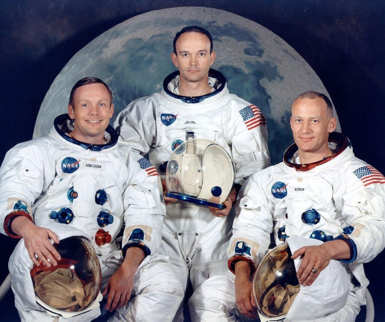 Neil Armstrong, Michael Collins, Buzz Aldrin, del Apollo 11.