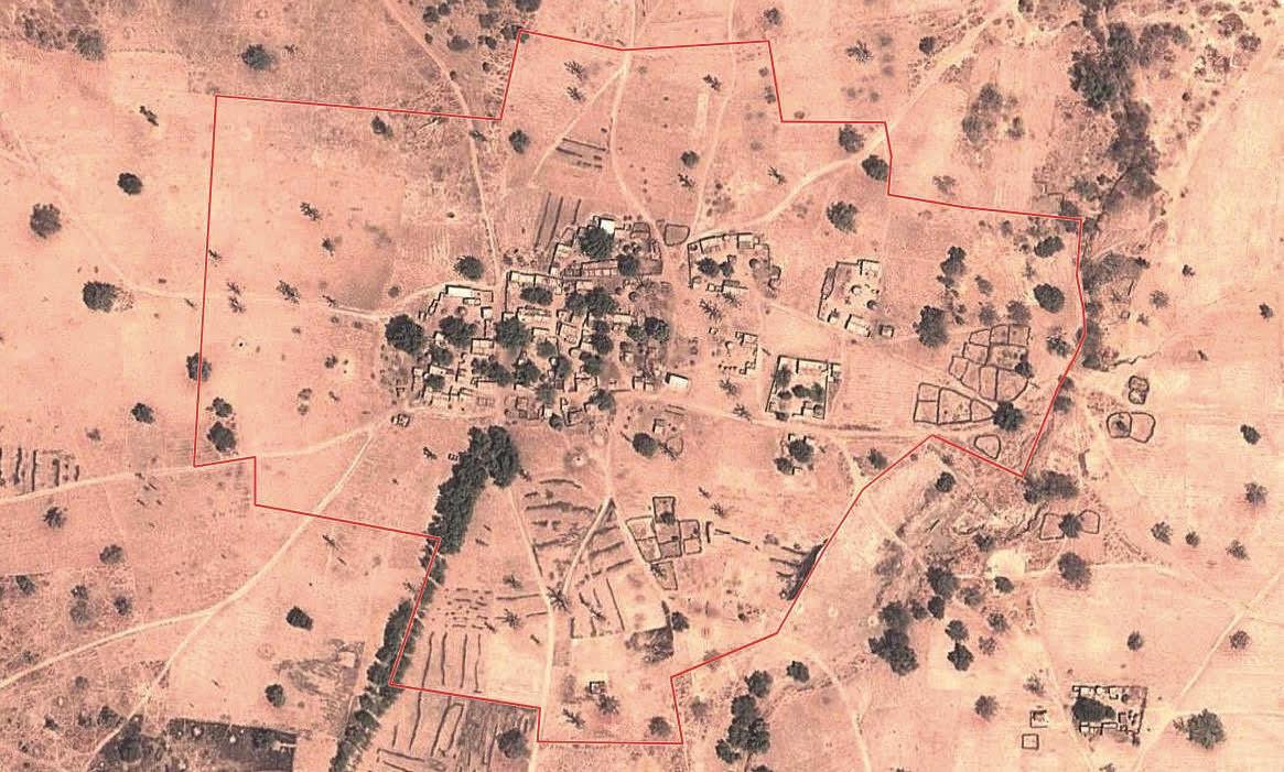 Picha ya setilaiti ya kijiji cha Farabougou, katikati mwa Mali.