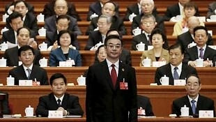 中國最高人民法院院長周強在人大做報告,2016年3月13號