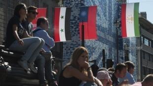 掛在倫敦街頭的中華民國國旗