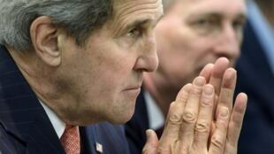 Le secrétaire d'Etat John Kerry, à Lausanne, en Suisse, le 30 mars 2015.