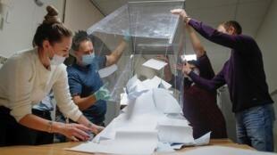Un bureau de vote à Tomsk, en Russie, le 13 septembre 2020.