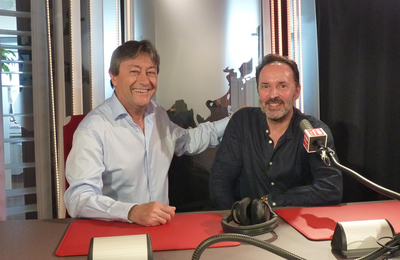 El saxophonista David Marcos con Jordi Batallé en RFI