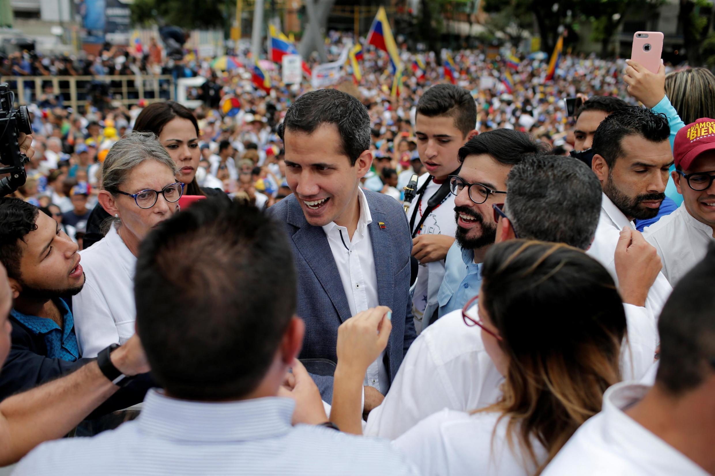 Le leader de l'opposition, Juan Guaido, lors du rassemblement de soutien à Caracas le 11 mai 2019.