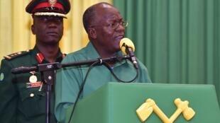 Le président de la Tanzanie, John Magufuli, lors d'un discours à ses partisans le 27 octobre 2020, dans la région de Dodoma.