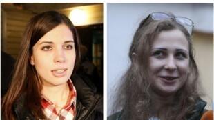 Nadejda Tolokonnikova (g.) et Maria Alekhina (dr.), à leur sortie de prison, ce 23 décembre 2013.