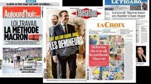 A maioria da imprensa francesa destaca o início das negociações na França de uma nova reforma trabalhista.