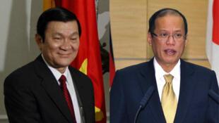 Chủ tịch nước Việt Nam Trương Tấn Sang (trái) và tổng thống Philippines Benigno Aquino (ảnh ghép)