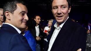 Benjamin Griveaux (à dr.), le candidat LREM aux municipales à Paris, avec Gérald Darmanin, ministre de l'Action et des comptes publics.