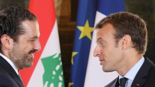 Le président français Emmanuel Macron et le chef du gouvernement démissionnaire libanais Saad Hariri le 1er septembre 2017 à Paris.
