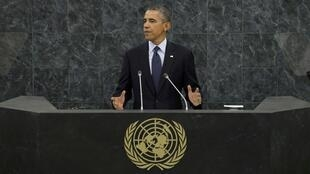 O presidente Barack Obama discursando na Assembleia Geral da ONU, em 24 de setembro de 2013.