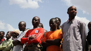 Des ex-rebelles du M23 cantonnés dans le camps de Bihanga, en Ouganda, en février 2017.