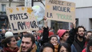 Marcha por el clima en Paris el 8 diciembre 2018.