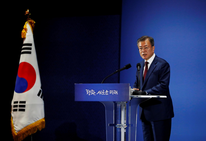 Tổng thống Hàn Quốc Moon Jae In trong cuộc họp báo tại Seoul, ngày 20/09/2018
