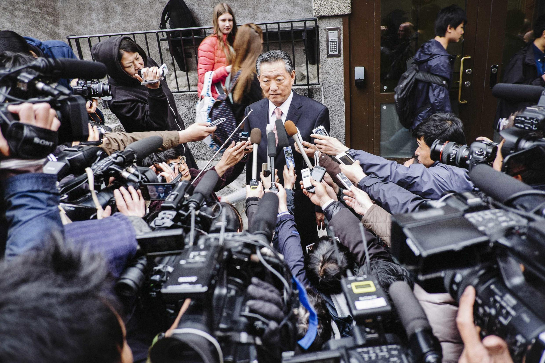 Le négociateur de la Corée du Nord Song Il Ho à Stockholm, après trois jours de discussions entre les deux pays sur le sort de ces Japonais qui avaient été enlevés pour former les espions nord-coréens.