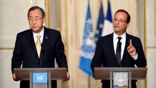 François Hollande lors de la conférence de presse conjointe avec le secrétaire général des Nations unies, Ban Ki-moon, mardi 9 octobre à Paris.