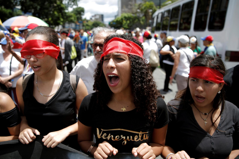 Manifestation de l'opposition vénézuélienne à Caracas, le 5 juillet 2019.