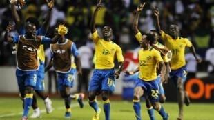 Gabon's Bruno Zita (13) celebrates his goal against Morocco