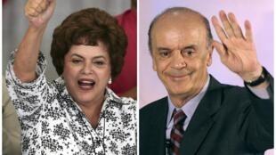 Los candidato Dilma Rousseff y José Serra