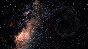 C'est la fusion de deux trous noirs en un seul qui a permis la découverte, cette année, des ondes gravitationnelles (ici, un trou noir supermassif).