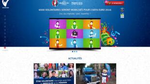 Page d'accueil du site officielle des Volontaires de l'UEFA Euro 2016.