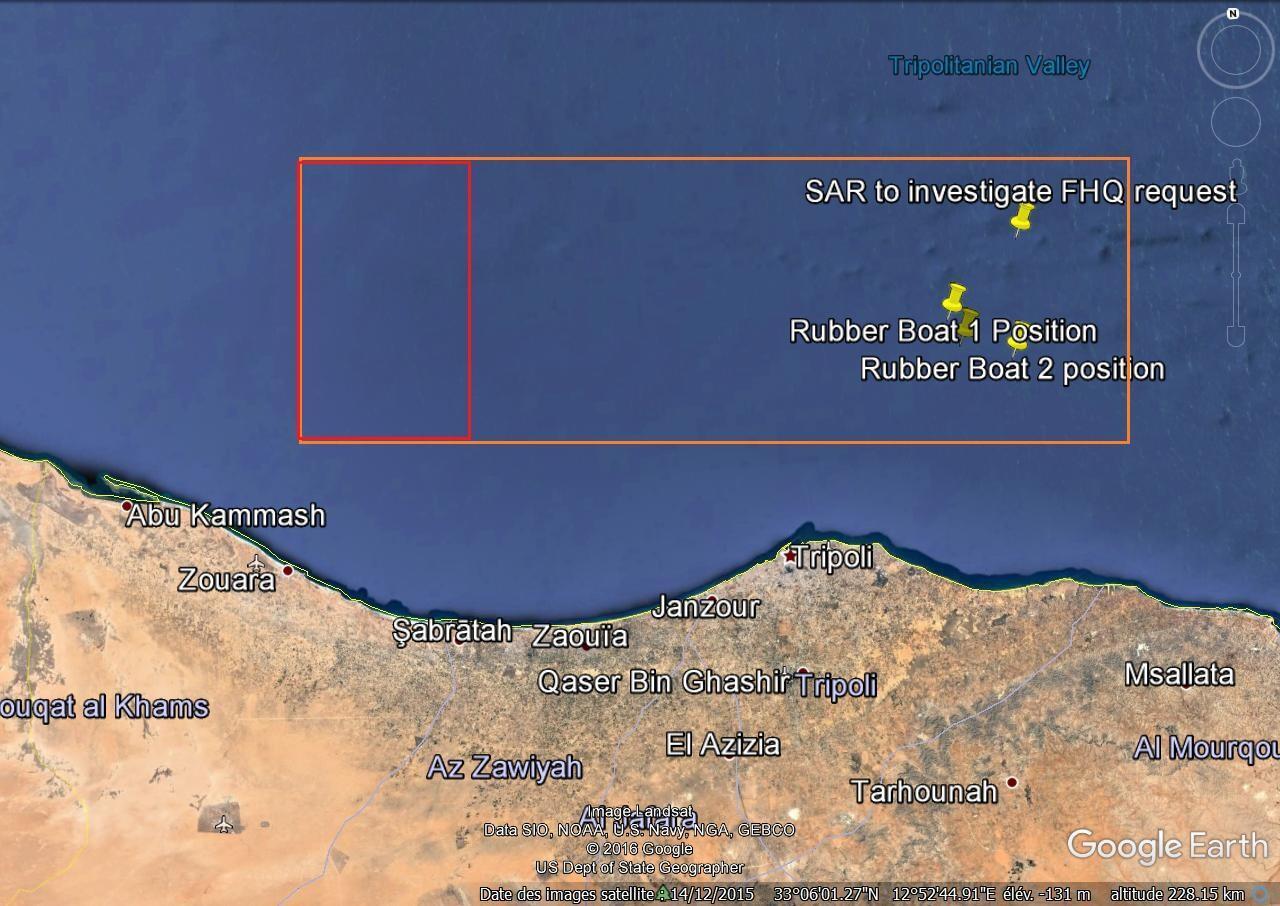 Document relevant la position des deux embarcations de migrants récupérées et reconstituant la zone de patrouille.