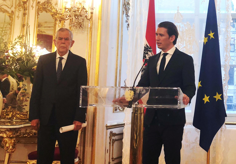 Austria's President Alexander Van der Bellen and Chancellor Sebastian Kurz address a news conference in the presidential office in Vienna, Austria, June 16, 2018.