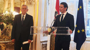 Austria's President Alexander Van der Bellen and Chancellor Sebastian Kurz address a news conference in the presidential office in Vienna, Austria, June 16, 2018.