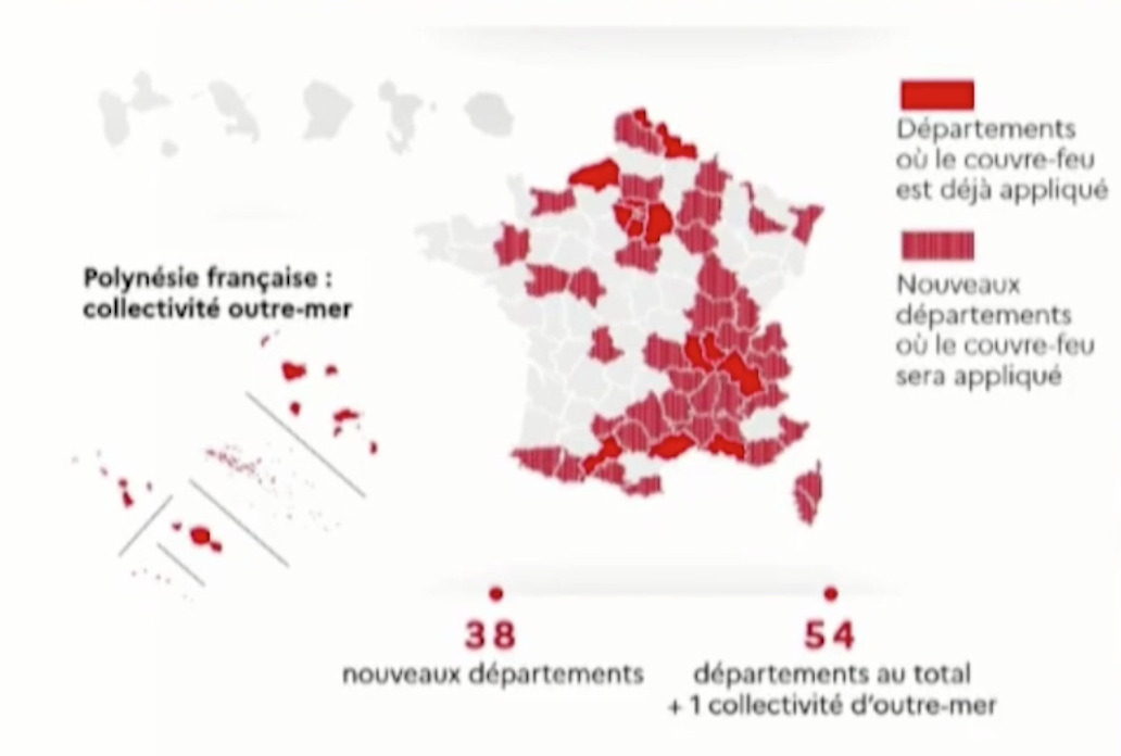 The French government announced that 46 more departments would be under partial lockdown as between 21:00 and 06:00 starting Saturday 24 October, bringing the total to 56.