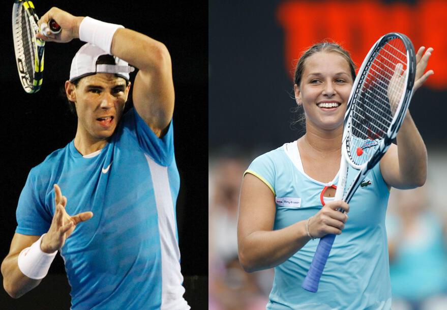 Torneio de tênis na Austrália com o espanhol Rafael Nadal e a tenista dinamarquesa Caroline Wozniacki.