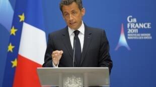 Президент Франции Николя Саркози на открытии совещания министров внутренних дел и юстиции Большой восьмерки.