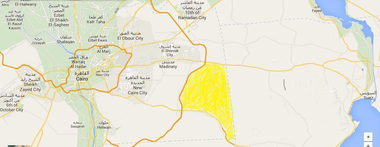 La nouvelle capitale égyptienne prévue apparait ici en jaune, à l'est du Caire.
