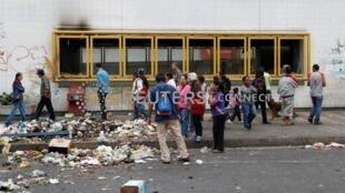 委內瑞拉示威過後街頭一景。
