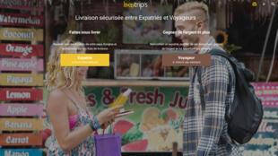 la page d'accueil du site Beetrip's, un site qui permet la livraison de colis entre voyageurs et expatriés.