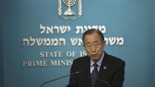 """O secretário-geral das Nações Unidas, Ban Ki-moon, durante sua visita à Jerusalém, pediu aos dirigentes israelenses e palestinos que ajam rápido para deter uma """"perigosa escalada da violência""""."""
