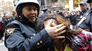 An Occupy Wall Street demonstrator is arrested by the New York City police