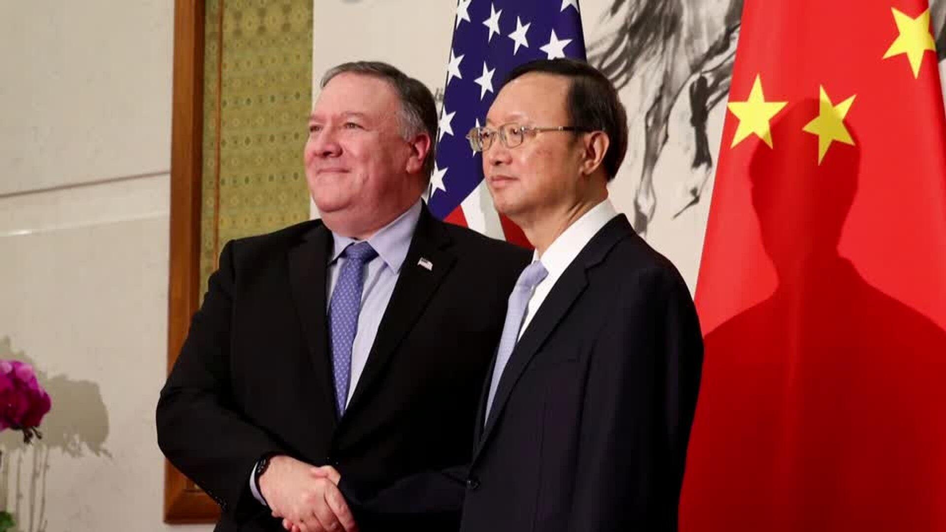 美國務卿蓬佩奧與中共中央政治局委員楊潔篪資料圖片