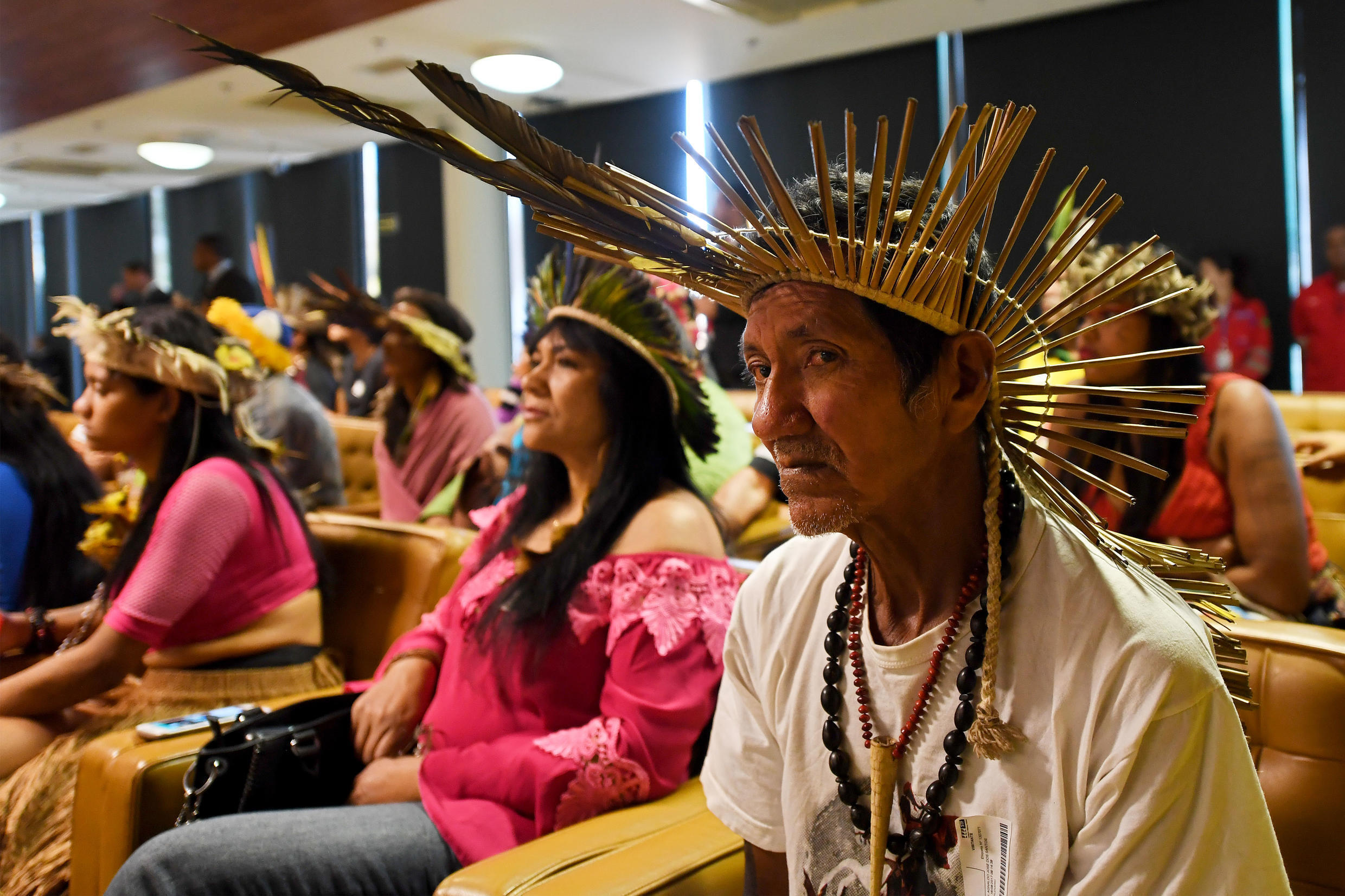 (File photo) Tribes from the Brazilian Amazon have been fighting for recognition and human rights for many years. Here, representatives from several tribes attend a Supreme Court session in Brasilia in 2017.