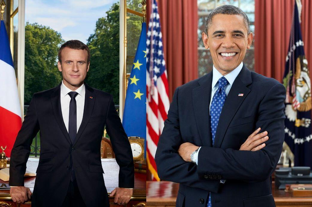 Retrato oficial de Emmanuel Macron foi inspirada na de Obama.