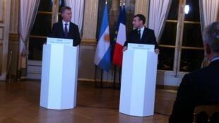 Los presidentes Mauricio Macri (Argentina) y Emmanuel Macron (Francia) en el Eliseo, 26 enero 2018