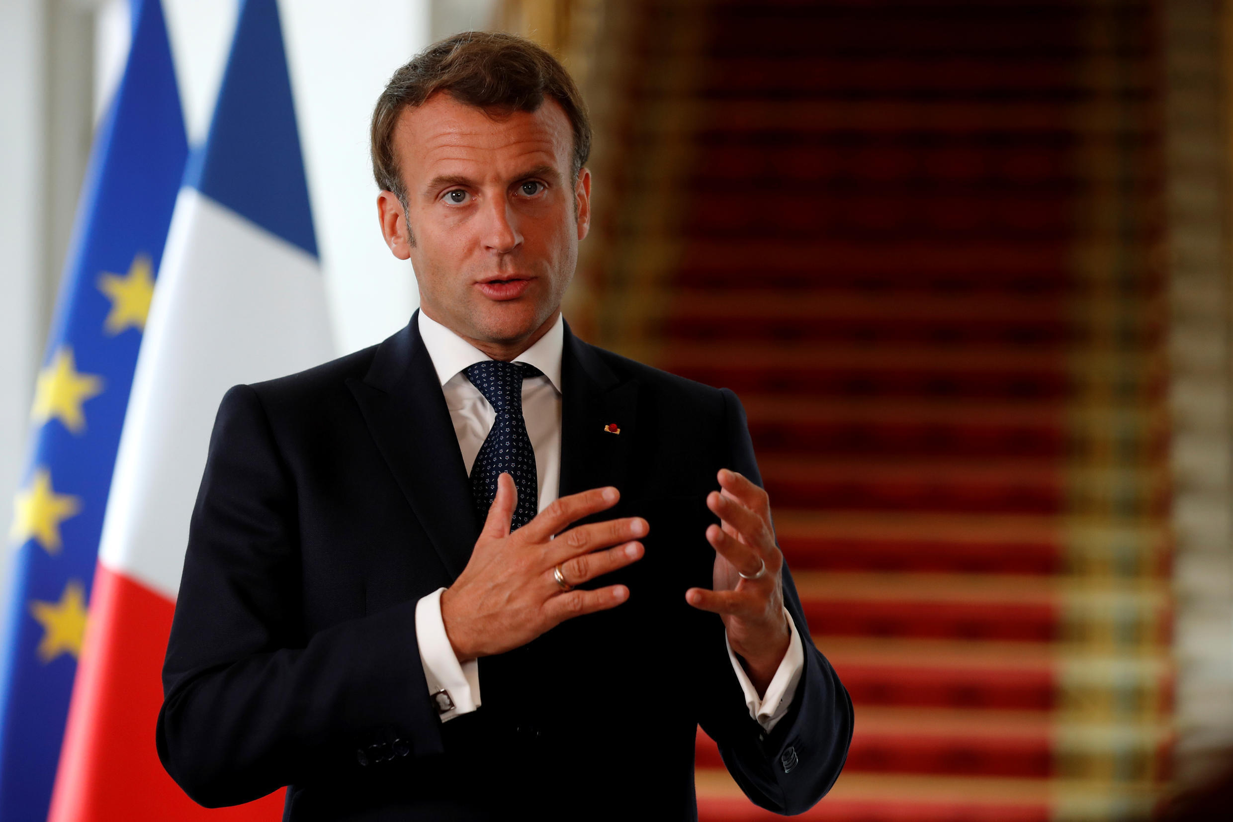 French President Emmanuel Macron (pictured May 4, 2020) said in a televised interview that officials should know by early June 2020 if France has averted a new flare-up of COVID-19