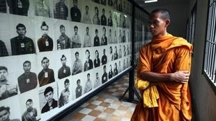 Victims photos in Tuol Sleng genocide museum, on the site of a former prison and torture centre
