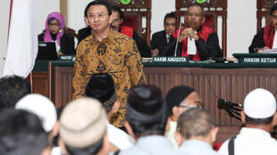 Jakarta's Governor Basuki Tjahaja Purnama during his blasphemy trial at the auditorium of the Agriculture Ministry in Jakarta on January 3, 2017