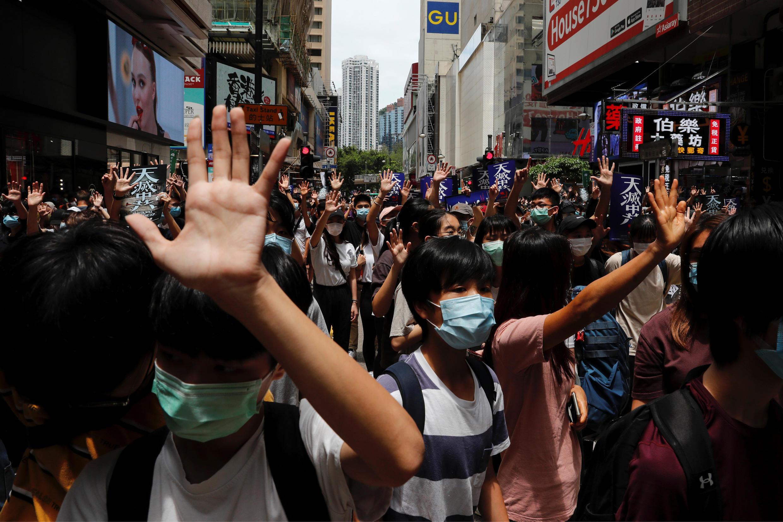 香港市民抗议港版国安法资料图片
