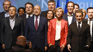 Les Republicain Paris region candidate Valérie Pécresse (2nd from right) surrounded by party leaders, who hope to beat the Front National in regional elections.
