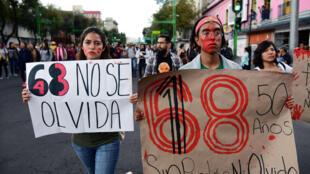 Plaza del  Zocalo en Méxicod DF el pasado 2 de octubre en el 50 aniversario